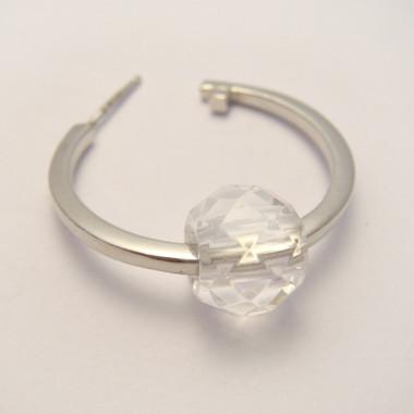 Perle cristal de roche facettée large trou 3 mm