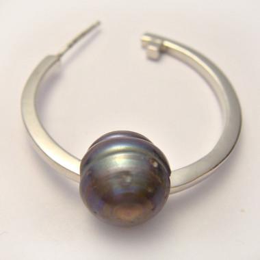 Perle biwa grisée large trou 3 mm
