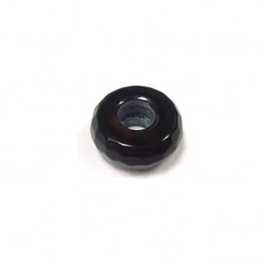 Perle obsidienne noire facettée large trou