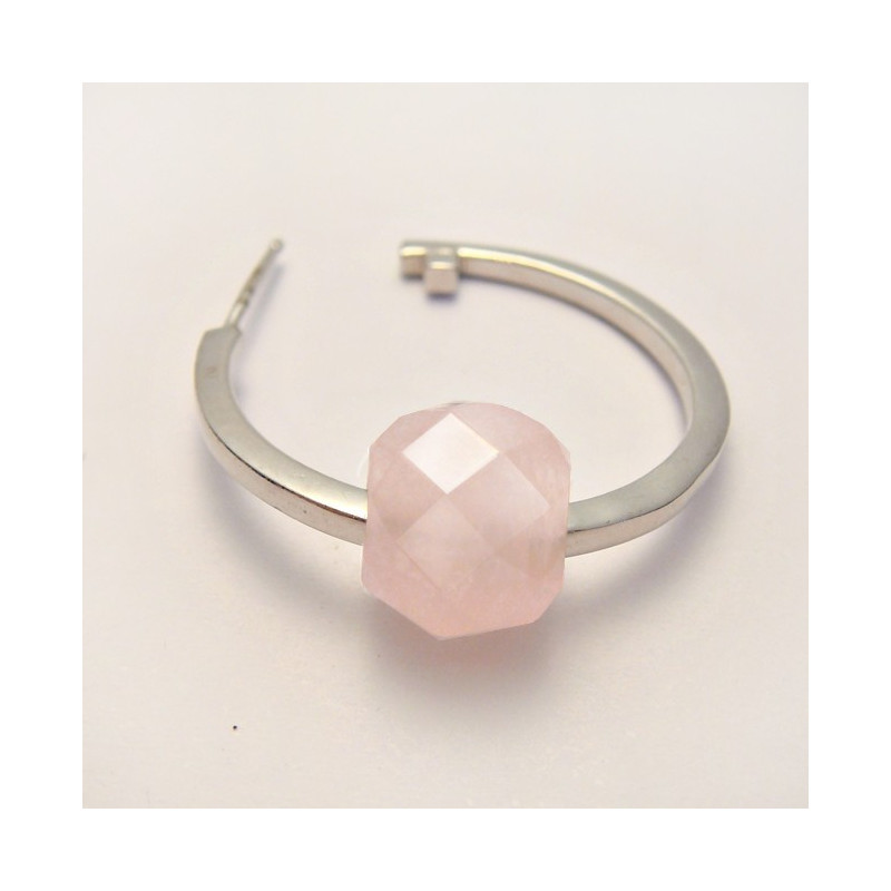 Perle quartz rose facettée large trou 3 mm