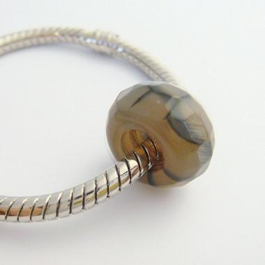 Perle agate veinée facettée large trou