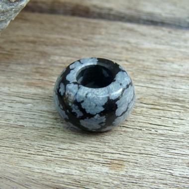 Perle obsidienne neige large trou