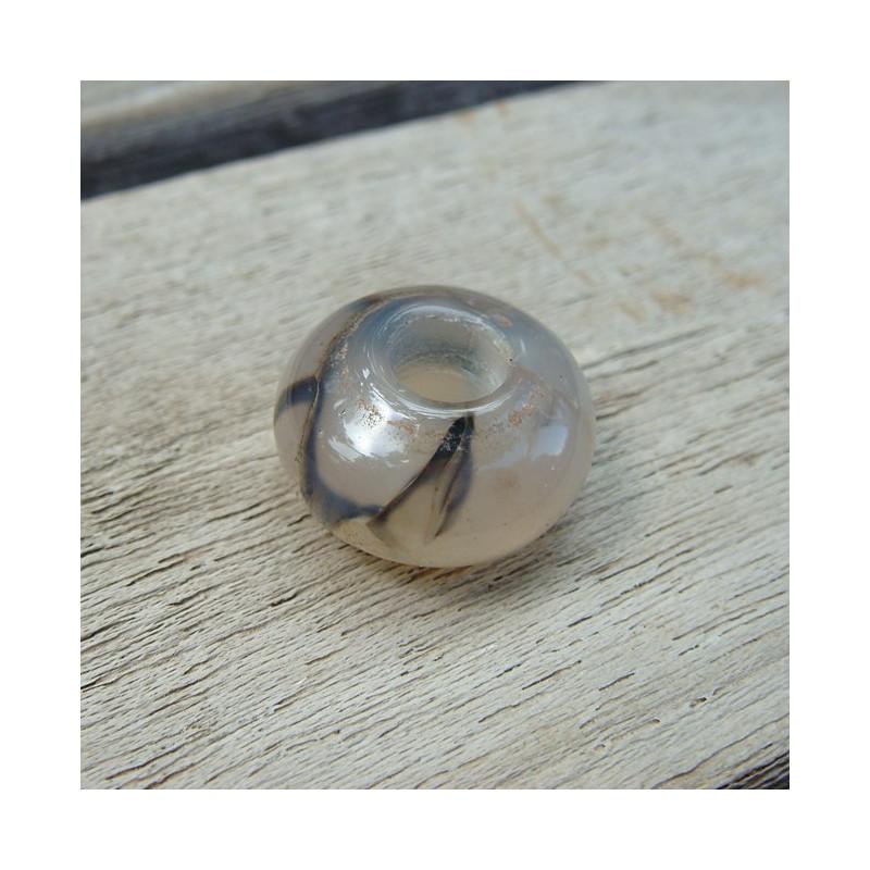 Perle agate veinée large trou