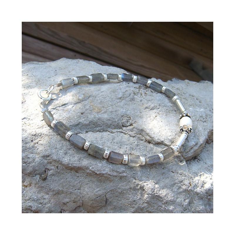 Bracelet labradorite et perle d'eau douce