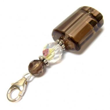 Charm de quartz fumé et cristal de bohème