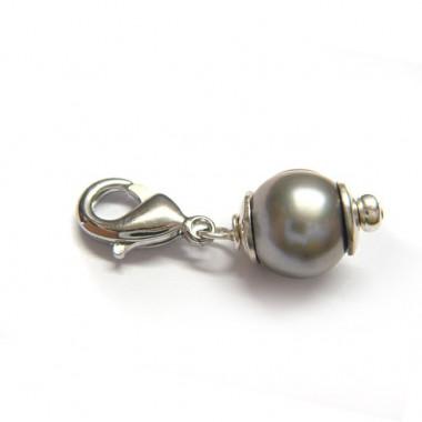 """Charm perle biwa grisée pour """"european beads"""""""