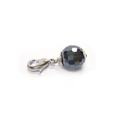 """Charm hématite facetté pour """"european beads"""""""