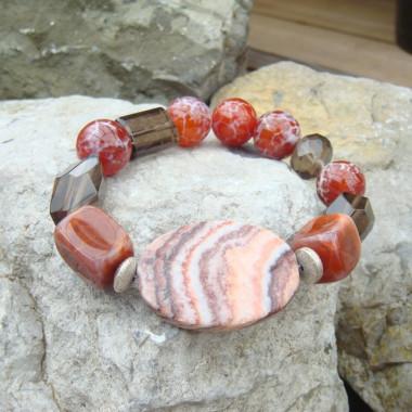 Bracelet agate de feu, quartz fumé et jaspe