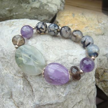 Bracelet améthyste, jaspe, quartz fumé et agate veinée