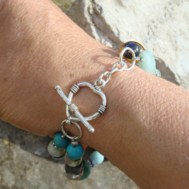 Bracelet deux rangs multi pierres