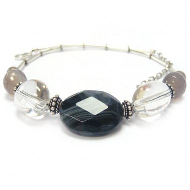 Collier agate Botswana, grise et cristal de roche.