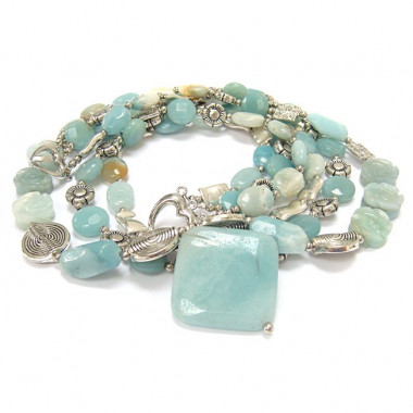 Collier multi-rangs amazonite