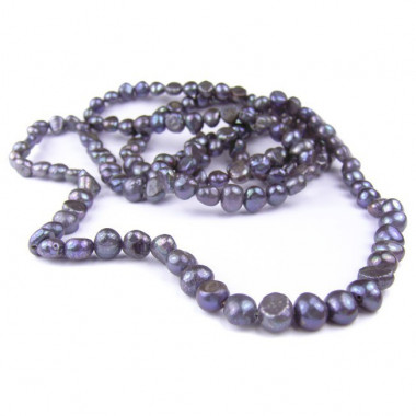 Sautoir en perles biwa noires