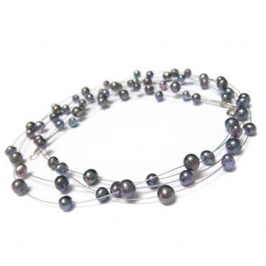 Collier en perles biwa noires