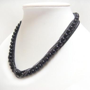 Collier chaînes noires et onyx