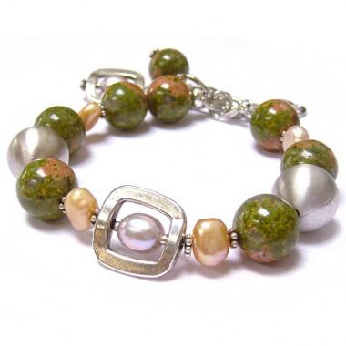 Bracelet en unakite et perle