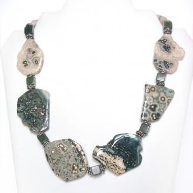 Collier jaspe océan et jade