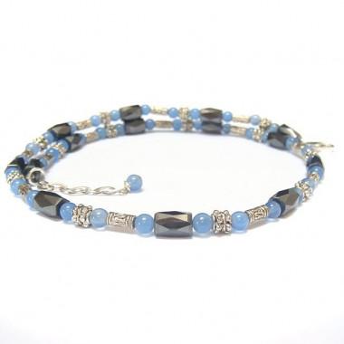 Collier en hématite magnétique et agate bleue