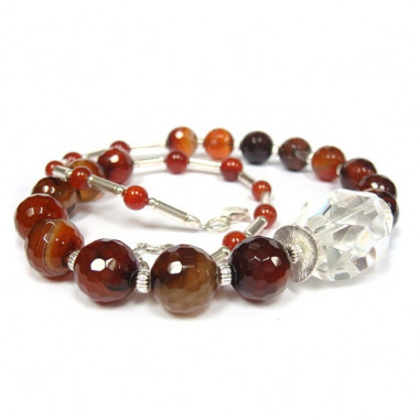 Collier agate naturelle et...