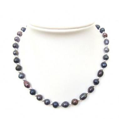 Collier perles biwa noires