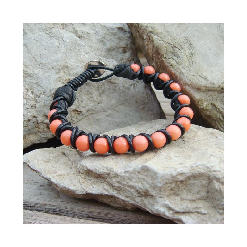 "Bracelet corail rose ""shamballa"""