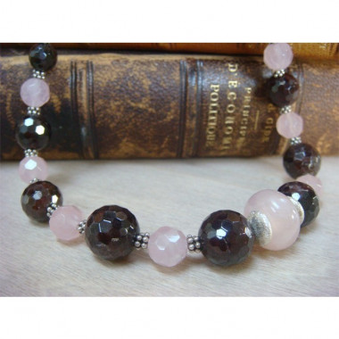 Collier grenat et quartz rose