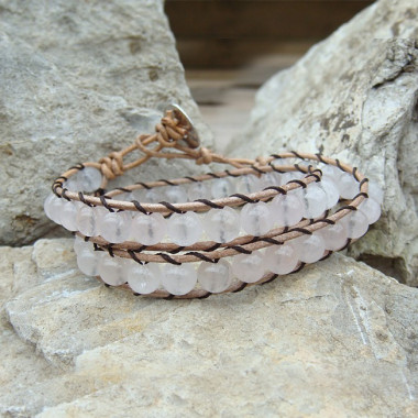 "Bracelet ""wrap"" quartz rose"