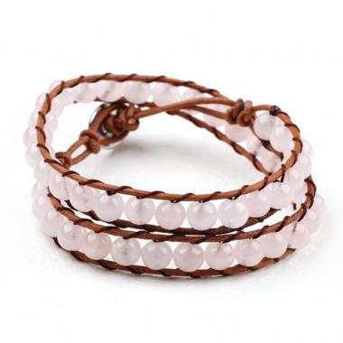 "Bracelet ""wrap"" quartz rose"