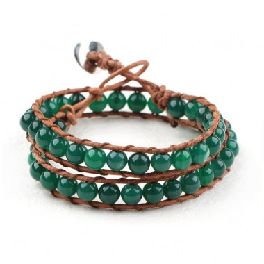 "Bracelet ""wrap"" agate verte"