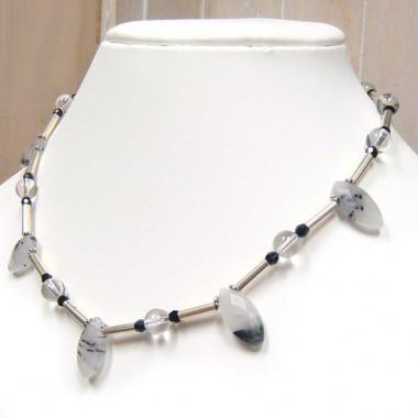 Collier quartz tourmaline et cristal de roche