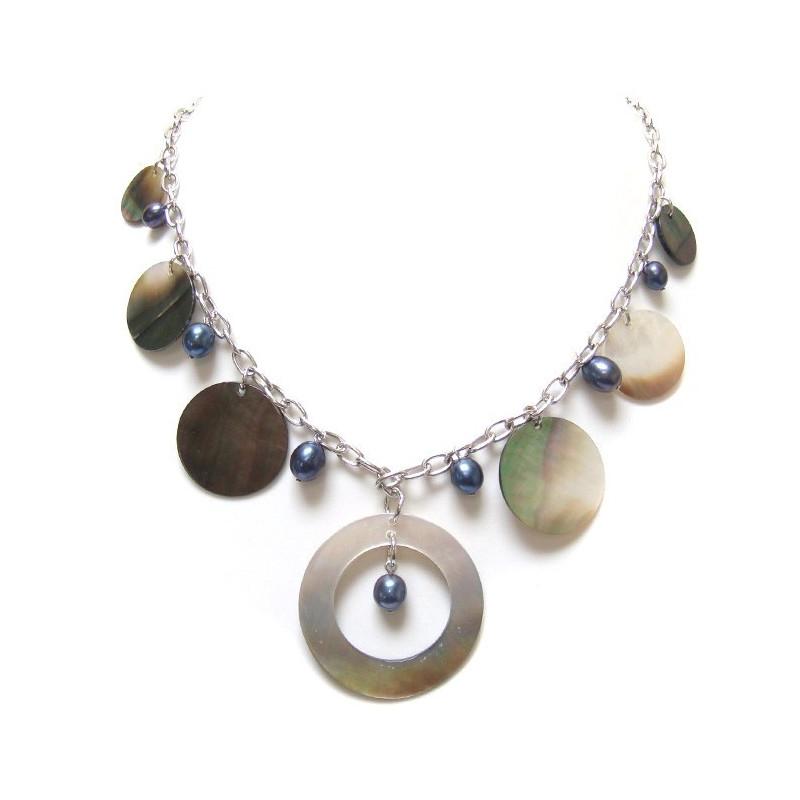 Collier nacre et perles biwa