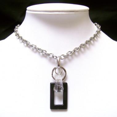 Collier chaîne métal avec onyx et cristal de roche