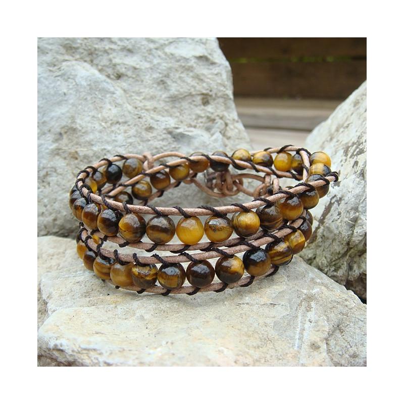 "Bracelet ""wrap"" oeil de tigre"