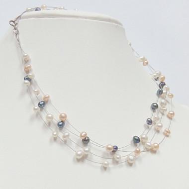 Collier perles biwa tricolores
