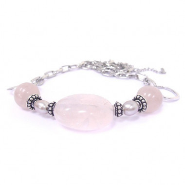 Collier en quartz rose et biwa.