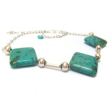 Collier en véritable turquoise