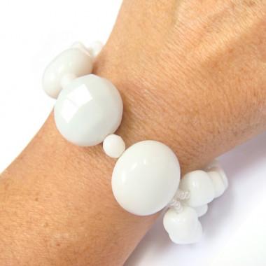 Bracelet en agate blanche