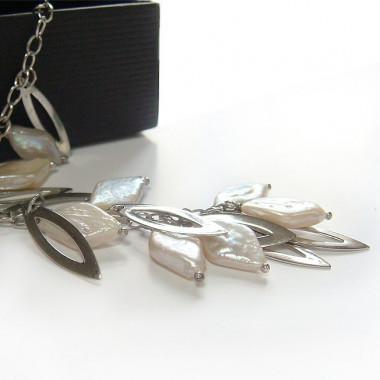 Perles biwa sur chaîne argent 925