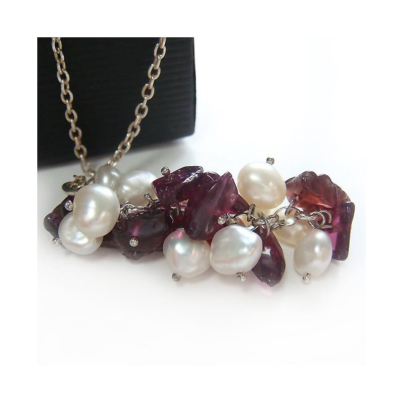 Chaîne ag925 avec pendentif perles biwa et grenat