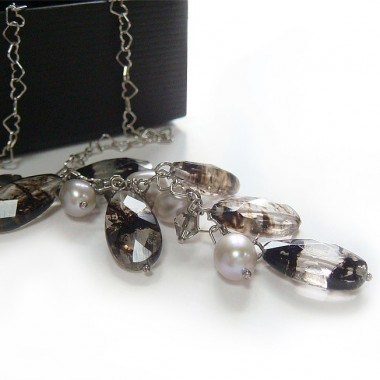 Chaîne ag 925 perles biwa et quartz à inclusions