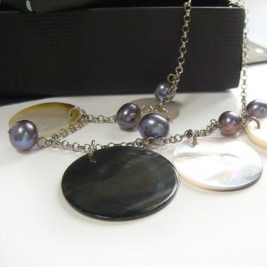 Nacre et perle biwa sur chaîne argent 925