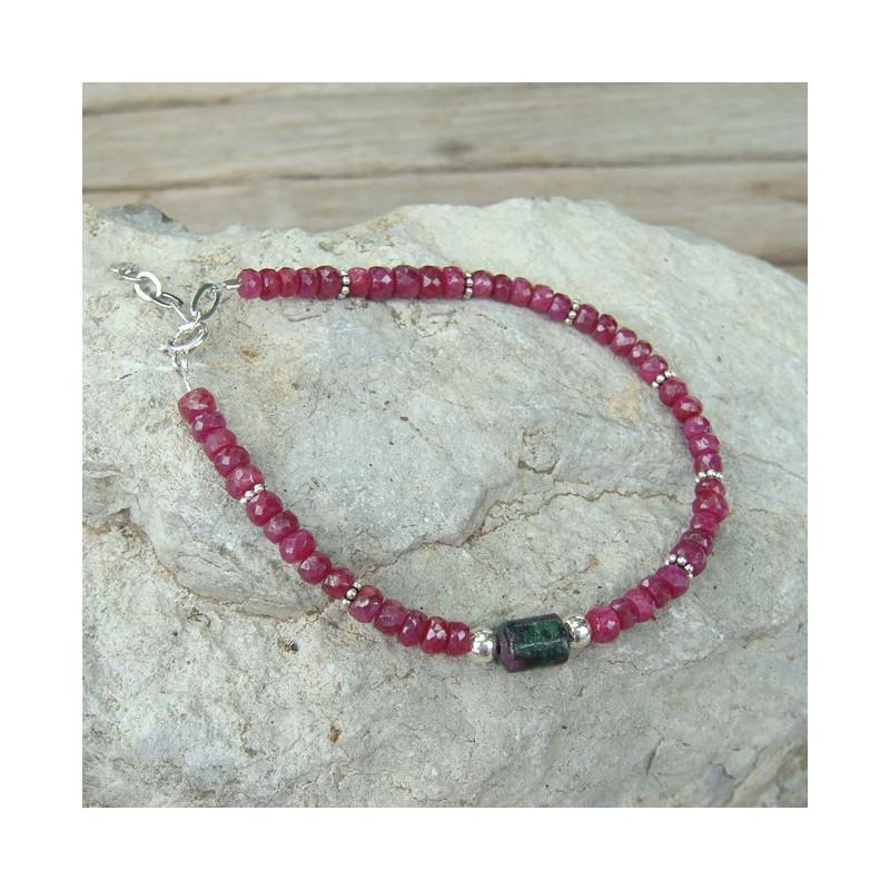 Bracelet rubis et zoïsite