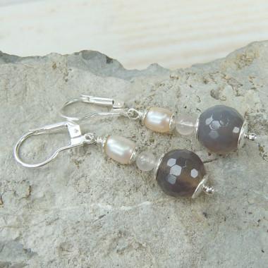 Boucles d'oreilles agate, quartz rose et biwa