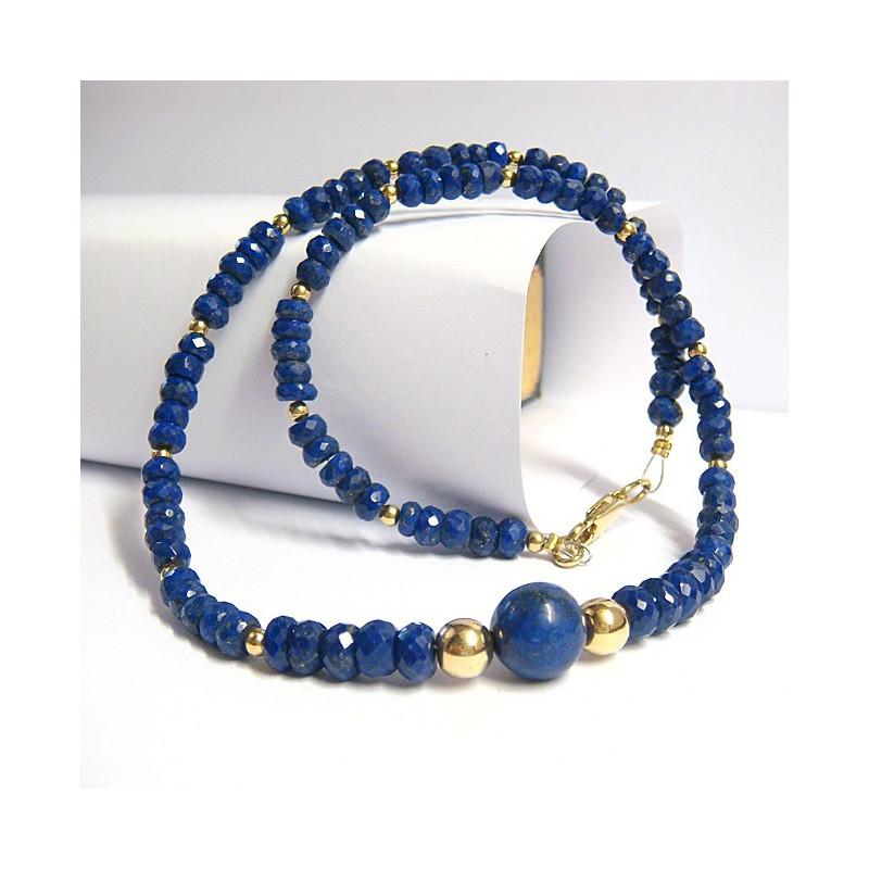 Collier lapis lazuli et pl or 3µ