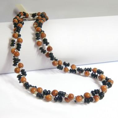Collier pierre de soleil, onyx et rétrécisseur