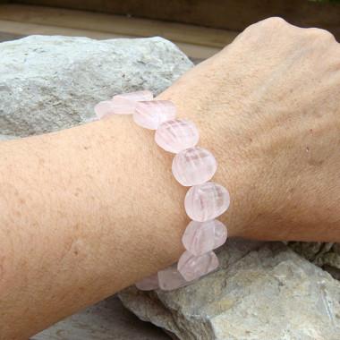 Bracelet plaques de quartz rose