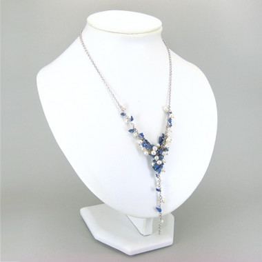 Chute de perles biwa et lapis lazuli sur chaîne argent 925
