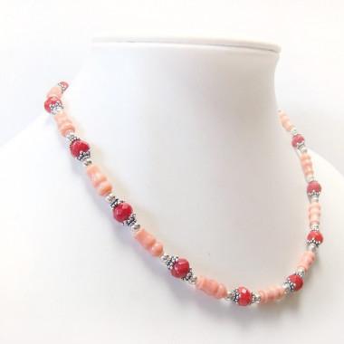 Collier corail rose et rouge