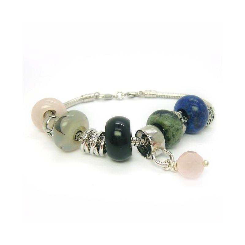 Bracelet EUR Lapis lazuli, jaspe kambala, agate, quartz rose, onyx