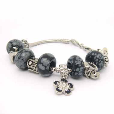 Bracelet EUR obsidienne neige